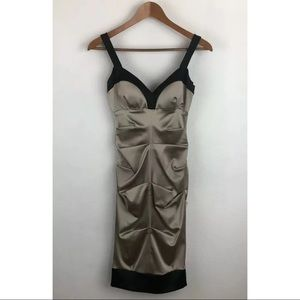 NEW $178 Cache Satin Ruched Bodycon Dress Champagn